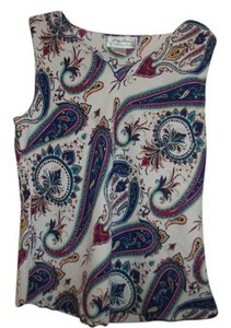 Giorgio Fiorlini Collection Polyester Light Weight Summer Vintage Designer Top white/ mult-color paisley