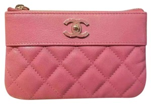 Chanel Sheepskin & Lacquered Metal Quilted Pouch