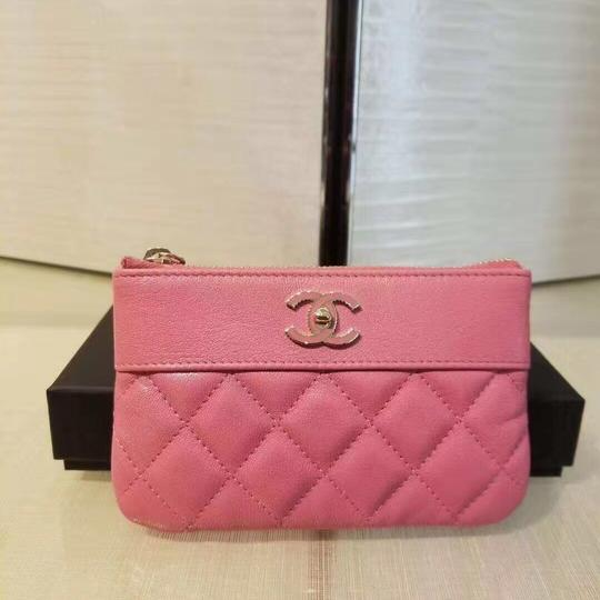 Chanel Sheepskin & Lacquered Metal Quilted Pouch Image 1