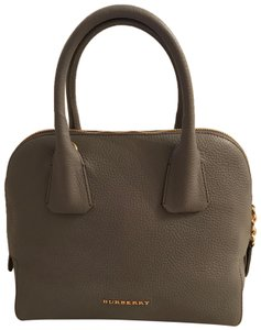 Burberry Leather Bowling Tote in Gray