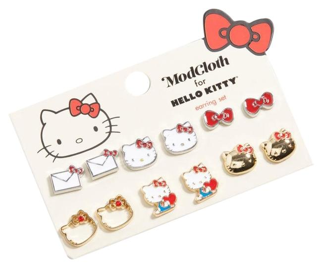 Sanrio Modcloth For Hello Kitty Iconic Accents Set Earrings Sanrio Modcloth For Hello Kitty Iconic Accents Set Earrings Image 1