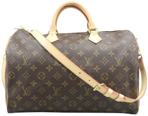 Louis Vuitton Speedy Monogram Canvas Satchel in Brown