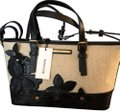 Brahmin Handbag Crossbody Satchel in Black and Straw
