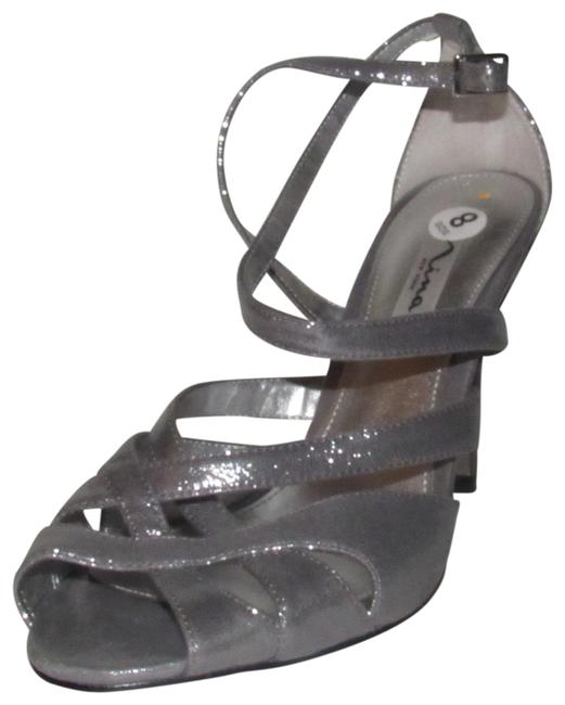 Nina Silver Leather Straps with Mesh and Satin Nwob Shoes/ New Pumps Size US 8 Regular (M, B) Nina Silver Leather Straps with Mesh and Satin Nwob Shoes/ New Pumps Size US 8 Regular (M, B) Image 1