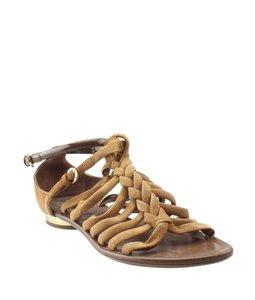 Louis Vuitton Leatherxsuede Pre-owned Italy Gold-tone Brown Sandals