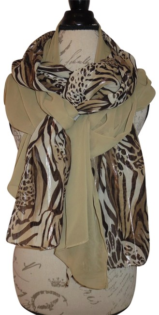 Rachelle Brown Beige Gold Zebra Cheetah Print Sparkly Sheer Lot Of 2 Scarf/Wrap Rachelle Brown Beige Gold Zebra Cheetah Print Sparkly Sheer Lot Of 2 Scarf/Wrap Image 1