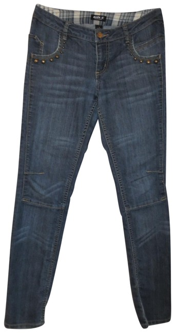 Item - Blue Distressed Faded Bronze Studded Detail Low-rise Stretchy Straight-leg Skinny Jeans Size 29 (6, M)