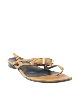 Fendi Leather Pre-owned Italy Gold-tone Brown Sandals