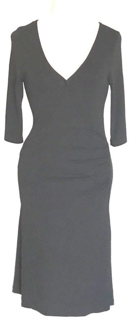 Item - Black Faux Wrap Ruched Waist Mid-length Formal Dress Size 4 (S)