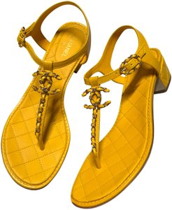 95df6464ad03 Yellow Chanel Sandals - Up to 90% off at Tradesy