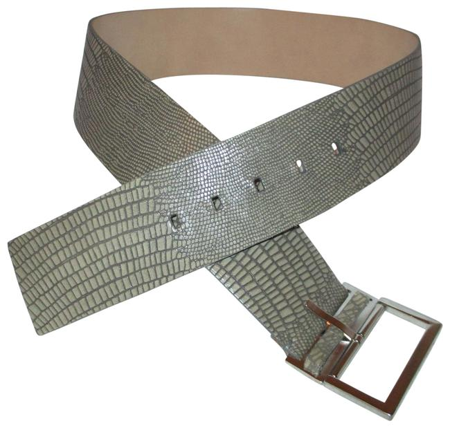 Item - Gray/Taupe Reptile Embossed Wide Leather Belt