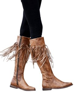 Bed|Stü Fringe Around Calf Almond Toe Padded Insole Leather Upper Grip Sole Tan Boots