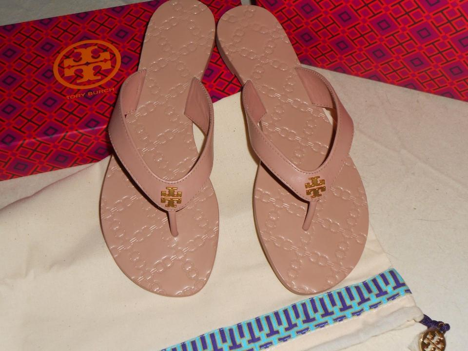 5183778f1 Tory Burch Nude New Monroe Thong Leather Flip Flops Flop Sandals. Size  US 8  ...