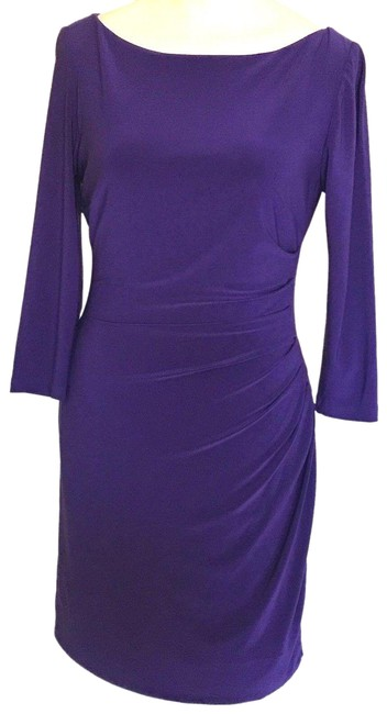 Item - Purple Ruched Stretch Bodycon Mid-length Formal Dress Size 2 (XS)