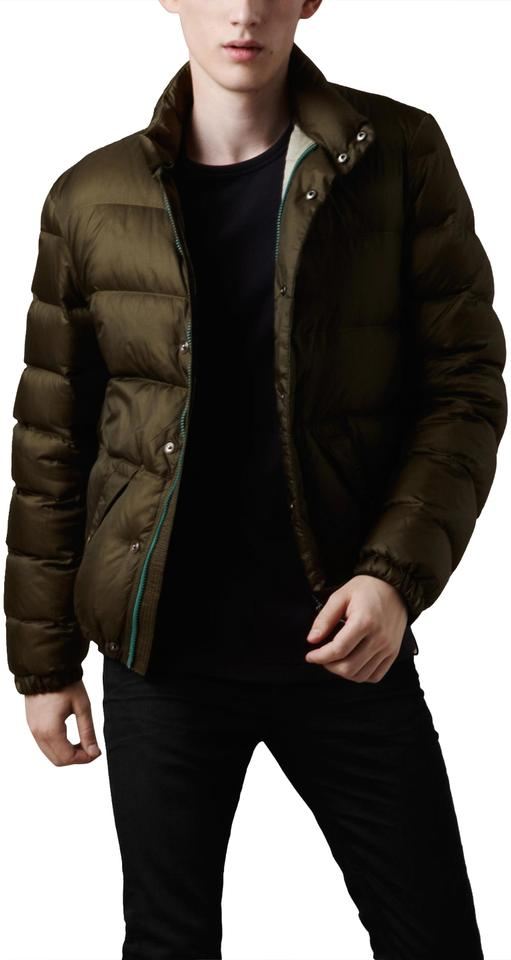 562458608 Burberry Green Brit Mens Duck Down Quilted Puffer Jacket Large Coat Size 12  (L)