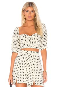 For Love & Lemons Zara Mini Polka Dot Chloe Button Mini Skirt Cream