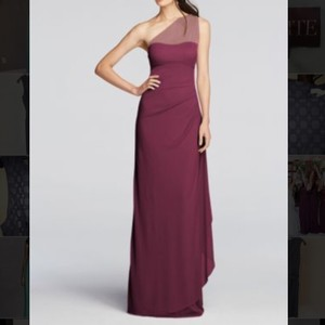 f4ee11a68f9d9 David s Bridal Wine One Shoulder Illusion Formal Bridesmaid Mob Dress Size  0 ...