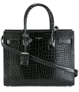 Saint Laurent Crocodile Tote in Black