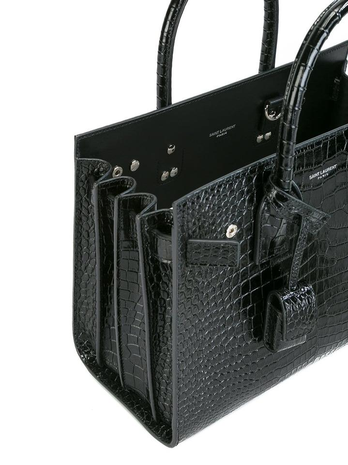50e6fc33d0 Saint Laurent Sac de Jour Classic Baby In Embossed Crocodile Shiny Black  Leather Tote 31% off retail