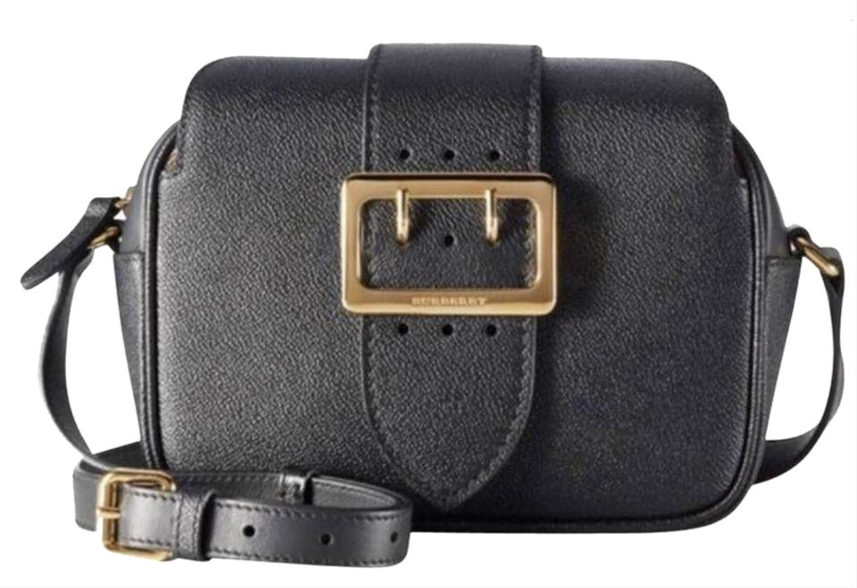 17d8d758a876 Burberry Small Buckle House Check Black Leather Cross Body Bag - Tradesy