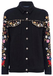 French Connection Floral Boho Bohemian Western black Womens Jean Jacket