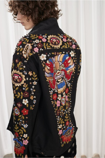 French Connection Floral Boho Bohemian Western black Womens Jean Jacket Image 2