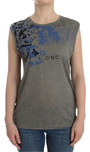 Costume National D12531-4 Women's Print Sleeveless T-shirt T Shirt Gray