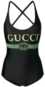 Gucci NEW Gucci Sparkling Swimsuit Black Logo One Piece