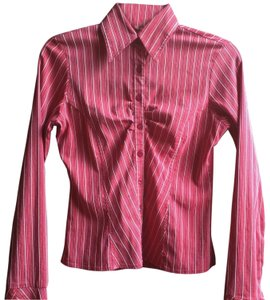 Charlotte Russe Button Down Shirt Red & White Stripes