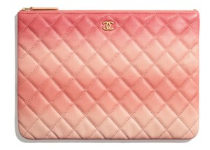ede67a955433 Chanel Classic Quilted Caviar O-case Pouch Coral Leather Clutch ...
