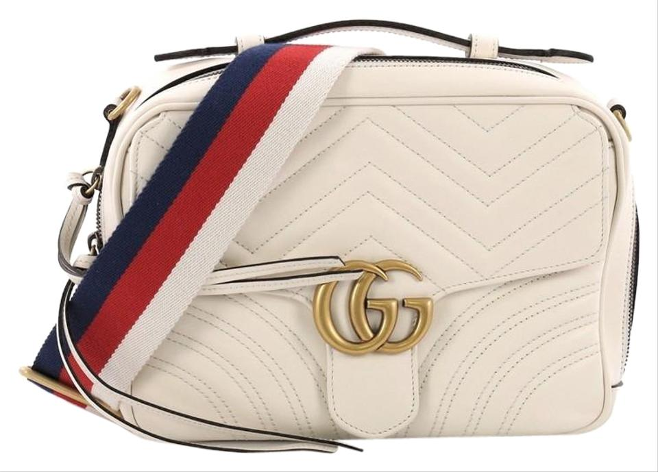 82ffde27a95 Gucci Marmont Gg Top Handle Flap Matelasse Small White Leather Cross ...