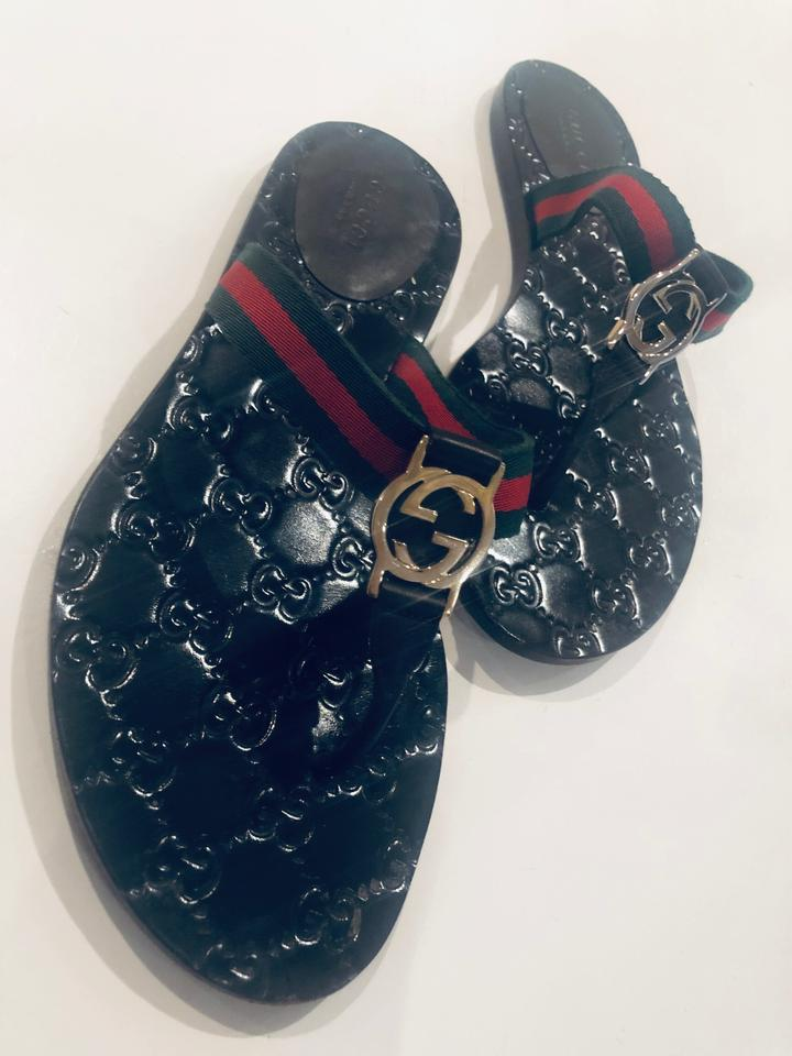5d398c2a0896 Gucci Black Thongs Slides Green and red Web with brown leather trim Sandals  Image 5. 123456