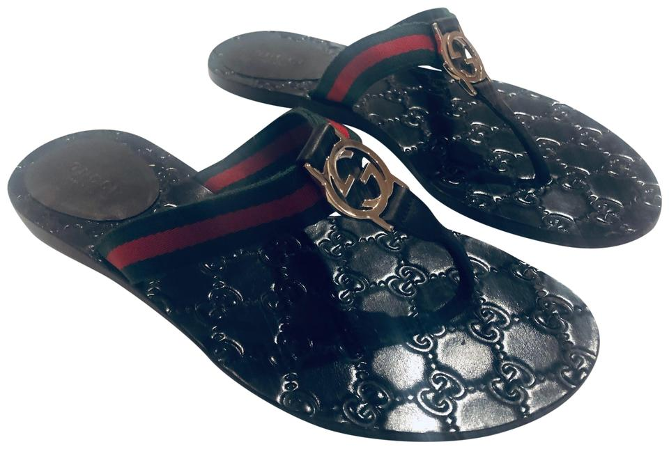 71dc7eb3ec9 Gucci Green and Red Web with Brown Leather Trim Gg Thong Sandals ...