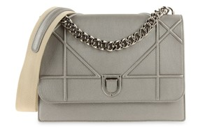 Dior Christian Leather Satchel in Silver