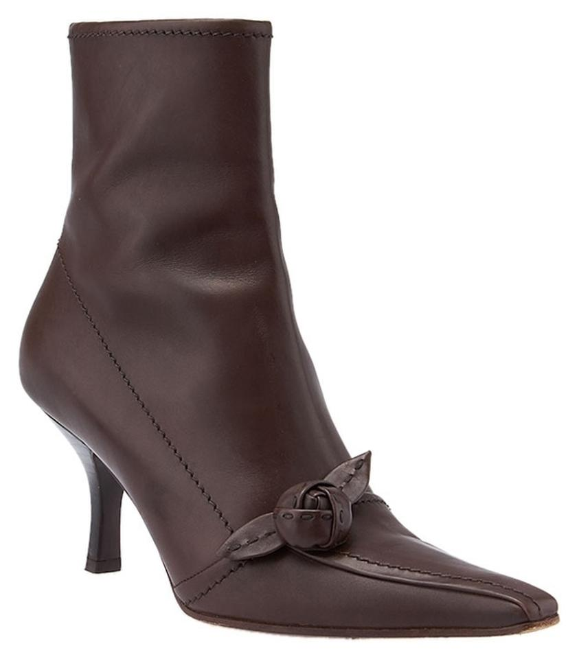 Prada Brown Leather Mid-calf (38859) Boots/Booties Boots/Booties (38859) b28677