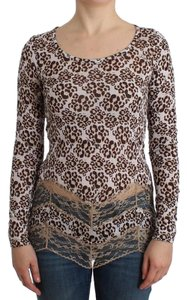 Cavalli Women's Longsleeved Lace D11989-1 T Shirt Brown