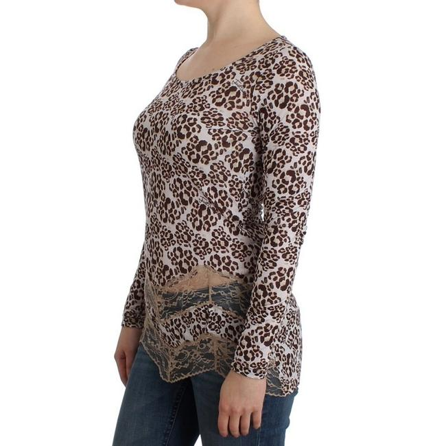Cavalli Women's Longsleeved Lace D11989-1 T Shirt Brown Image 1