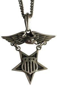 King Baby STERLING SILVER EAGLE MEDAL W/ STAR & FLAG SHIELD PENDANT NECKLACE