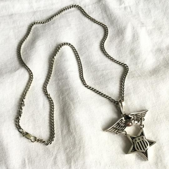 King Baby STERLING SILVER EAGLE MEDAL W/ STAR & FLAG SHIELD PENDANT NECKLACE Image 1