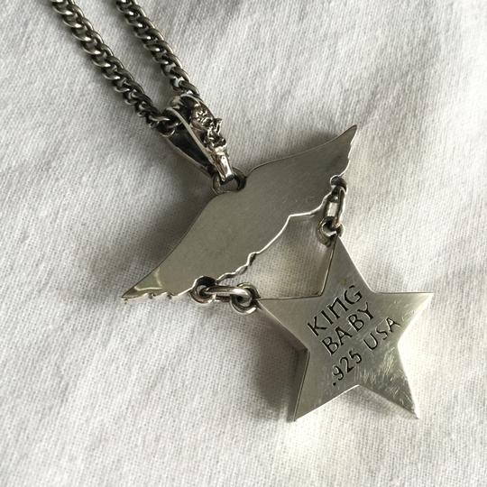 King Baby STERLING SILVER EAGLE MEDAL W/ STAR & FLAG SHIELD PENDANT NECKLACE Image 4