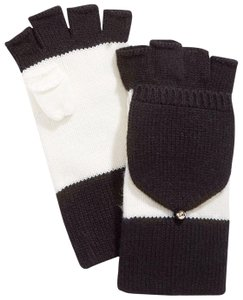 Kate Spade NWT KATE SPADE COLORBLOCK POP TOP MITTENS GLOVES CREAM BLACK