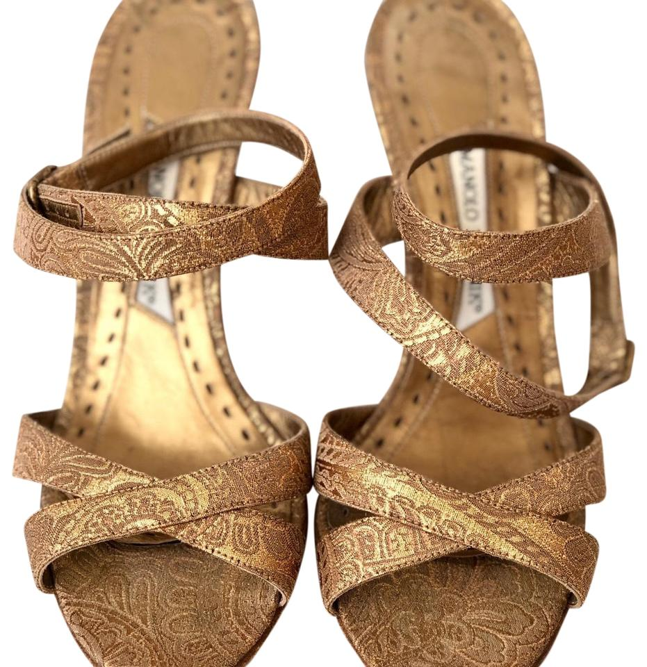 ae149019111 Manolo Blahnik Gold Light Brown Neutral Jacquard Leather Ankle Strap Sandals  Formal Shoes