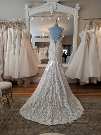 Martina Liana Ishy-pl Ivory Silver Lace Over Honey Gown with Porcelain Tulle Illusion Ml1001 Formal Wedding Dress Size 8 (M) Image 1