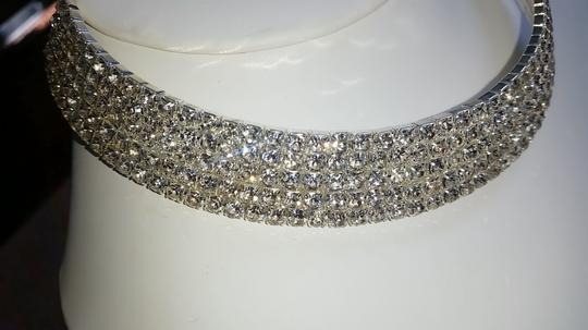 Fashion Jewelry For Everyone Silver Sparkly Choker 5 Row Prom Crystal Stone Necklace Image 3