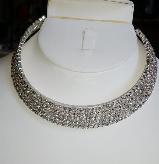 Fashion Jewelry For Everyone Silver Sparkly Choker 5 Row Prom Crystal Stone Necklace Image 4