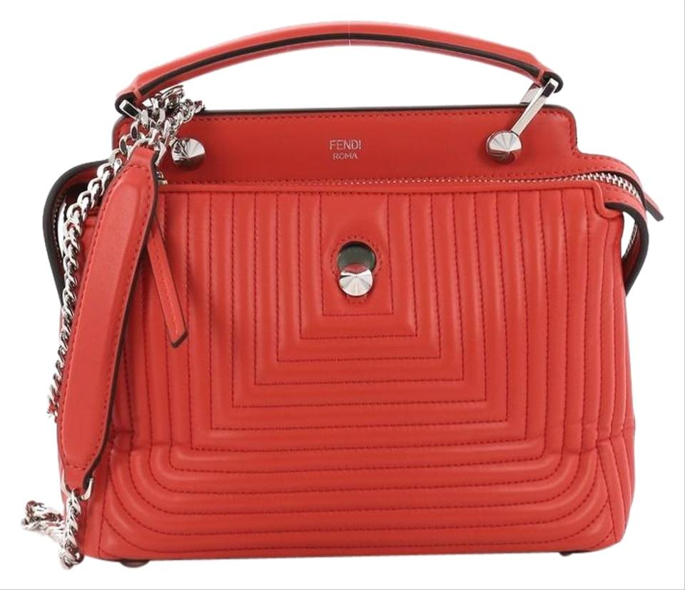 Fendi Dotcom Click Top Handle Quilted Small Red Leather Satchel 56% off  retail d2d8943baaccd