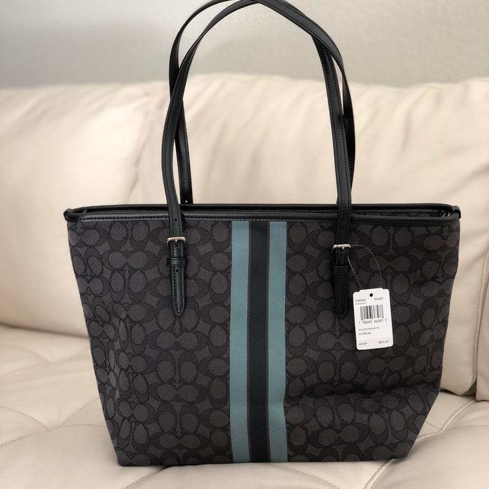 66eed6834d5d Coach City F39043 Zip Top In Signature Jacquard with Stripe   Wallet Black  Canvas Tote 54% off retail