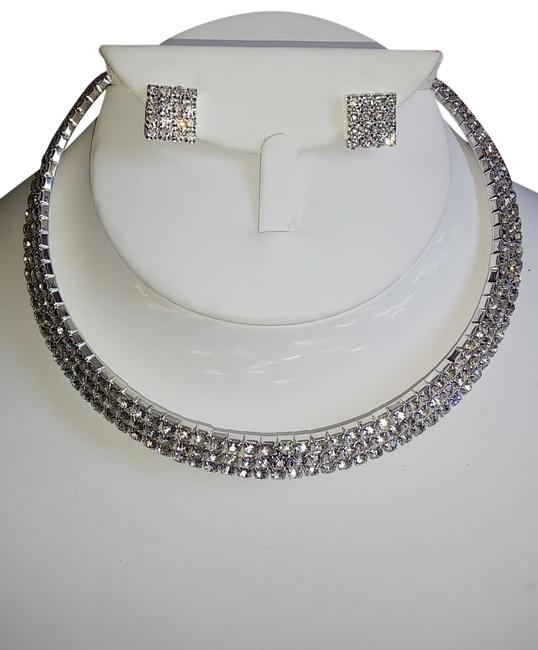 Item - Silver Sparkly Choker 3 Row Crystal Stone Earring Set Necklace