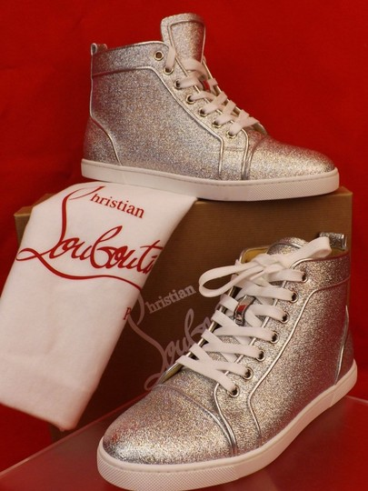 Christian Louboutin Metallic Lace Sequin Pink Gold Silver Athletic Image 1