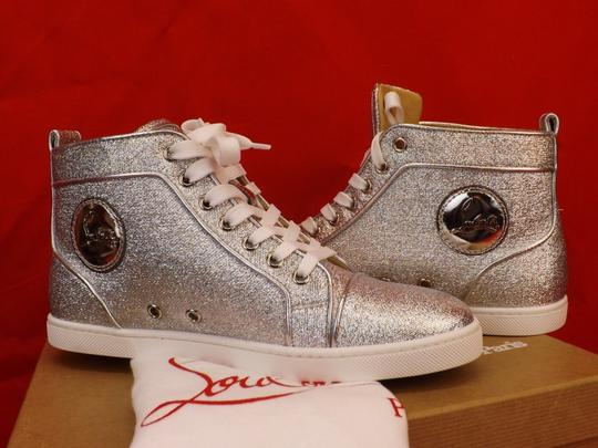 Christian Louboutin Metallic Lace Sequin Pink Gold Silver Athletic Image 2